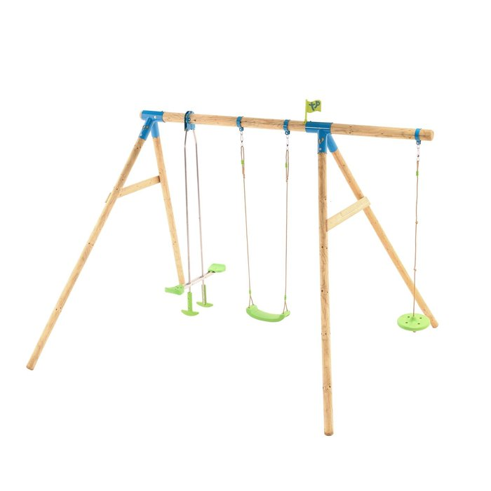 Knightswood Triple Wooden Swing Set with Glider and Button Seat - image 9