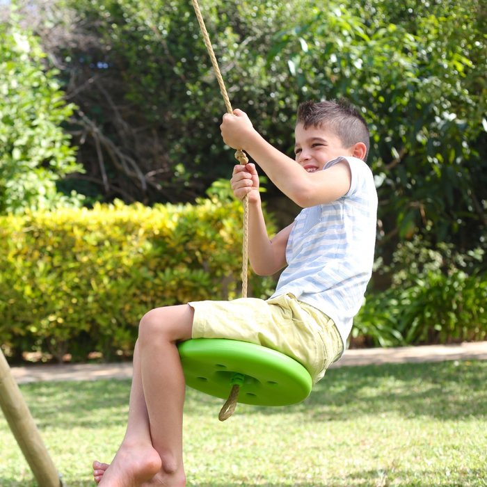 Knightswood Triple Wooden Swing Set with Glider and Button Seat - image 10