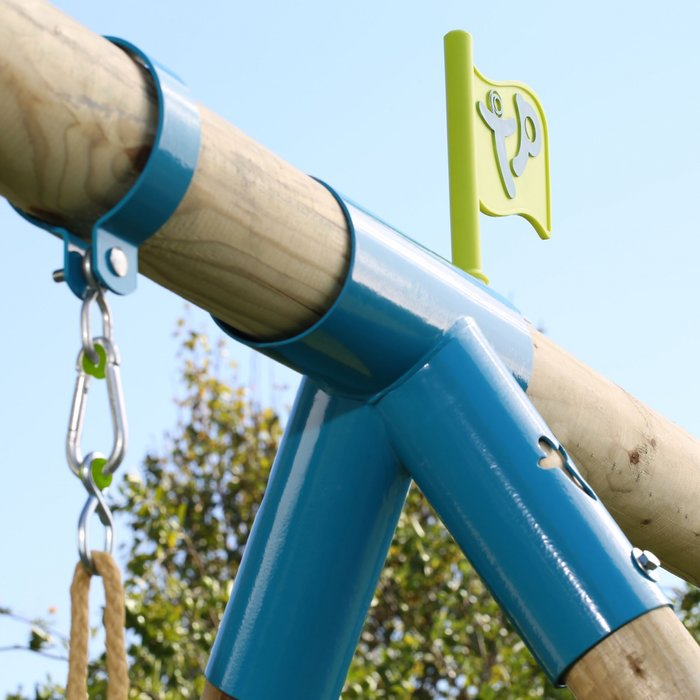 Knightswood Triple Wooden Swing Set with Glider and Button Seat - image 13