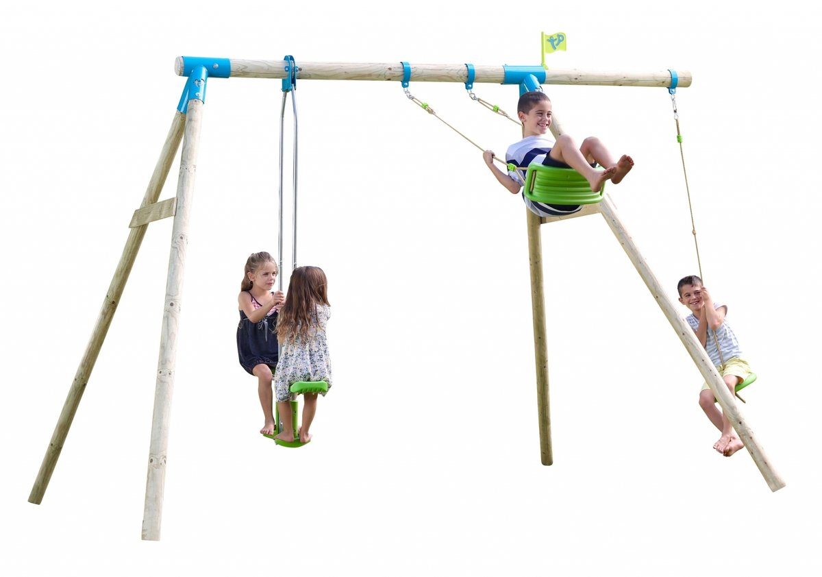 Knightswood Triple Wooden Swing Set with Glider and Button Seat - image 18